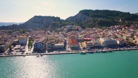 4K UHD Aerial  view of Zakynthos city in  Zante island, in Greece stock video footage
