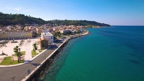 4K UHD Aerial  view of Zakynthos city in  Zante island, in Greece stock footage