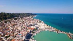4K UHD Aerial view of Zakynthos city in Zante island in Greece. 4K UHD Aerial  view of Zakynthos city in  Zante island, in Greece stock video