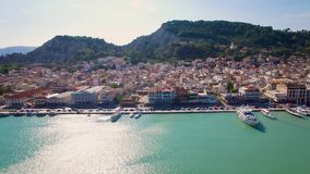 4K UHD Aerial view of Zakynthos city in Zante island in Greece. 4K UHD Aerial  view of Zakynthos city in  Zante island, in Greece stock video footage