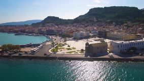 4K UHD Aerial  view of Zakynthos city in  Zante island, in Greece. 4K UHD Aerial  view of Zakynthos city in  Zante island in Greece stock video