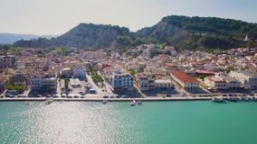 4K UHD Aerial  view of Zakynthos city in  Zante island, in Greece. 4K UHD Aerial  view of Zakynthos city in  Zante island in Greece stock video footage