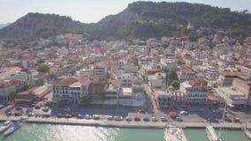 4K UHD Aerial  view of Zakynthos city in  Zante island, in Greece  log. 4K UHD Aerial  view of Zakynthos city in  Zante island, in Greece  - log stock footage