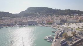4K UHD Aerial  view of Zakynthos city in  Zante island, in Greece - log stock video footage