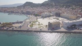 4K UHD Aerial  view of Zakynthos city in  Zante island, in Greece - log. 4K UHD Aerial view of Zakynthos city in Zante island, in Greece log stock video