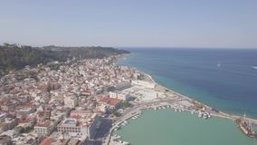 4K UHD Aerial  view of Zakynthos city in  Zante island, in Greece  log. 4K UHD Aerial  view of Zakynthos city in  Zante island, in Greece  - log stock video