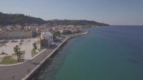 4K UHD Aerial  view of Zakynthos city in  Zante island, in Greece - log. 4K UHD Aerial view of Zakynthos city in Zante island, in Greece log stock footage