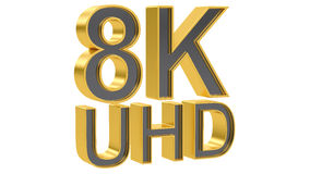 8K UHD concept, 3D rendering. 8K Ultra HD concept, 3D rendering on white background Stock Images