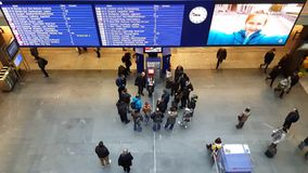 4K UHD video of passengers activities in train station of Bern. stock footage