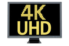 4K Ultra HD concept on television display Royalty Free Stock Photos