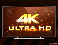 4k ultra hd curved TV screen Royalty Free Stock Photos