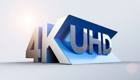 4K Ultra HD. 3D logo Stock Photos