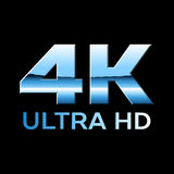 4k Ultra HD format logo with shiny chrome letters Royalty Free Stock Photo