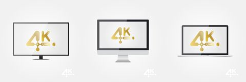 4K Ultra HD golden  icon on the TV, monitor and laptop. Flat  illustration EPS10 Stock Photography