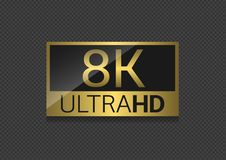 8K Ultra HD icon. 8K Ultra HD label. High technology, highest TV set resolution Vector Illustration