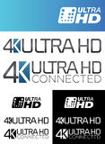 4K Ultra HD Labels. European and American 4K Ultra HD Labels Stock Illustration