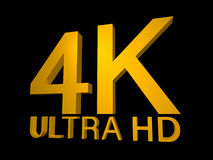 4K Ultra HD Logo. In 3d golden lettering with a highlight to the K and an angled perspective on a black background royalty free illustration