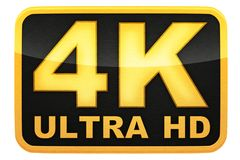 4k ultra hd logo. Isolated background, 3d illustration Royalty Free Stock Photography