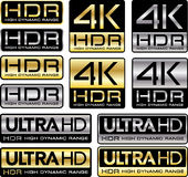 4K and Ultra HD logos with HDR mention. Vector illustration 4K and Ultra HD logos with HDR High Dynamic Range mention stock illustration