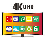 4K Ultra HD Modern Curved Screen Smart TV, vector. 4K Ultra HD Modern Curved Screen Smart TV with icons of various applications, flat vector illustration Royalty Free Stock Image