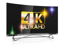 4K Ultra HD. Modern TV with 4K Ultra HD inscription on the screen Royalty Free Stock Photo