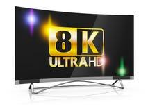 8K Ultra HD. Modern TV with 8K Ultra HD inscription on the screen stock illustration