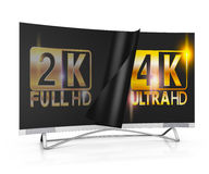 4K Ultra HD. Modern TV with 2K and 4K Ultra HD inscription on the screen Stock Image