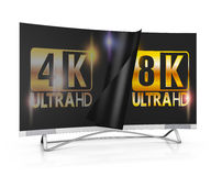 8K Ultra HD. Modern TV with 4k and 8K Ultra HD inscription on the screen Royalty Free Stock Image