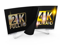 4K Ultra HD. Modern TV with 2K and 4K Ultra HD inscription on the screen Royalty Free Stock Image