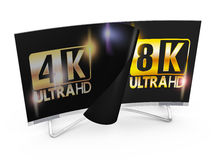 8K Ultra HD. Modern TV with 4k and 8K Ultra HD inscription on the screen royalty free illustration
