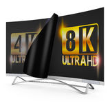 8K Ultra HD. Modern TV with 4k and 8K Ultra HD inscription on the screen Stock Illustration