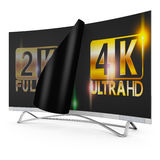 4K Ultra HD. Modern TV with 2K and 4K Ultra HD inscription on the screen Royalty Free Stock Images