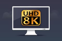 8K Ultra HD monitor on cloud design Royalty Free Stock Photography