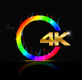 4K ultra HD sign  on black background Stock Images