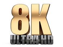 8K Ultra HD sign. Highest definition TV resolution. 8K Ultra HD sign. Highest definition TV resolution - front view. 3d illustration over white background stock illustration