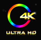4K ultra HD sign isolated on black background Stock Photo