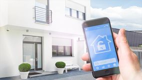 4k - Ultra HD -smart home, homeautomation with mobile phone stock video footage