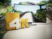 4K Ultra HD television. 3D illustration Royalty Free Stock Photo