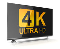 4K ultra hd tv. This is a computer generated and 3d rendered picture Royalty Free Stock Images