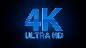 4K Ultra HD. TV 3D logo Stock Photos