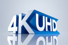 4K Ultra HD. TV 3D logo Stock Images