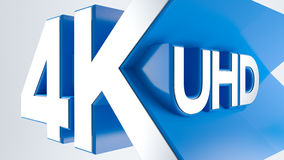 4K Ultra HD. TV 3D logo Stock Image
