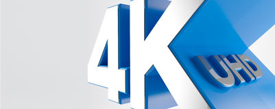 4K Ultra HD. TV 3D logo Stock Photo
