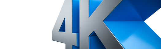 4K Ultra HD. TV 3D logo on white background Stock Image