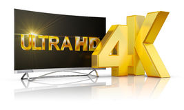 4K Ultra HD. Ultra HD TV and the volume inscription 4k, 3d render Stock Photography