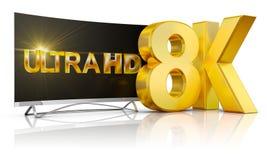 8K Ultra HD. Ultra HD TV and the volume inscription 8k, 3d render vector illustration