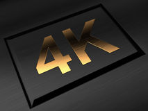 4k ultra hdtv television golden symbol on black Stock Photo
