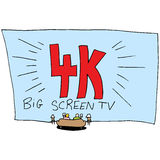 4k Ultra High Definition Big Screen TV. An image of people on a couch watching a 4k Ultra High Definition Big Screen TV royalty free illustration