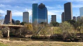 4K UltraHD ορίζοντας του Χιούστον, Τέξας μια όμορφη ημέρα απόθεμα βίντεο