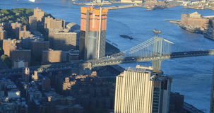 4K UltraHD Aerial view of the Manhattan Bridge to Brooklyn stock footage